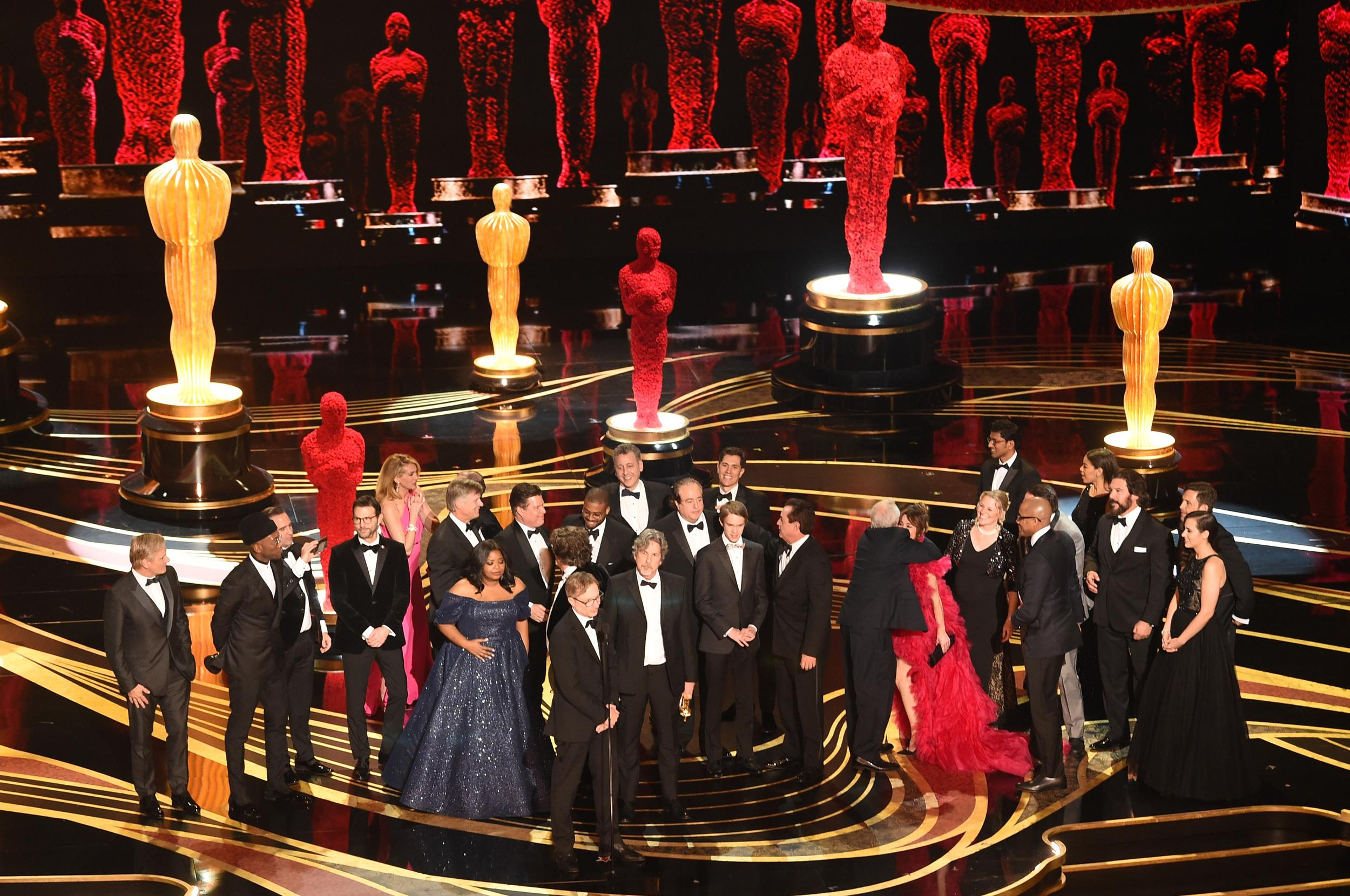 The cast and crew of Green Book on stage for Best Picture. Photo: Getty