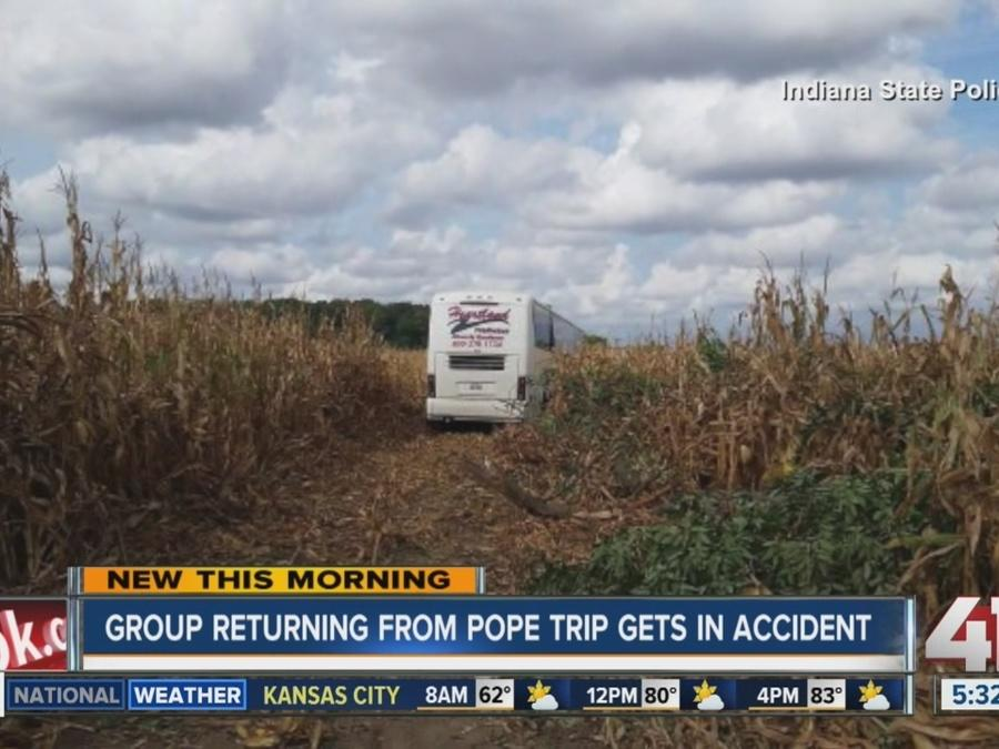 KC-bound bus blows tire, veers into cornfield