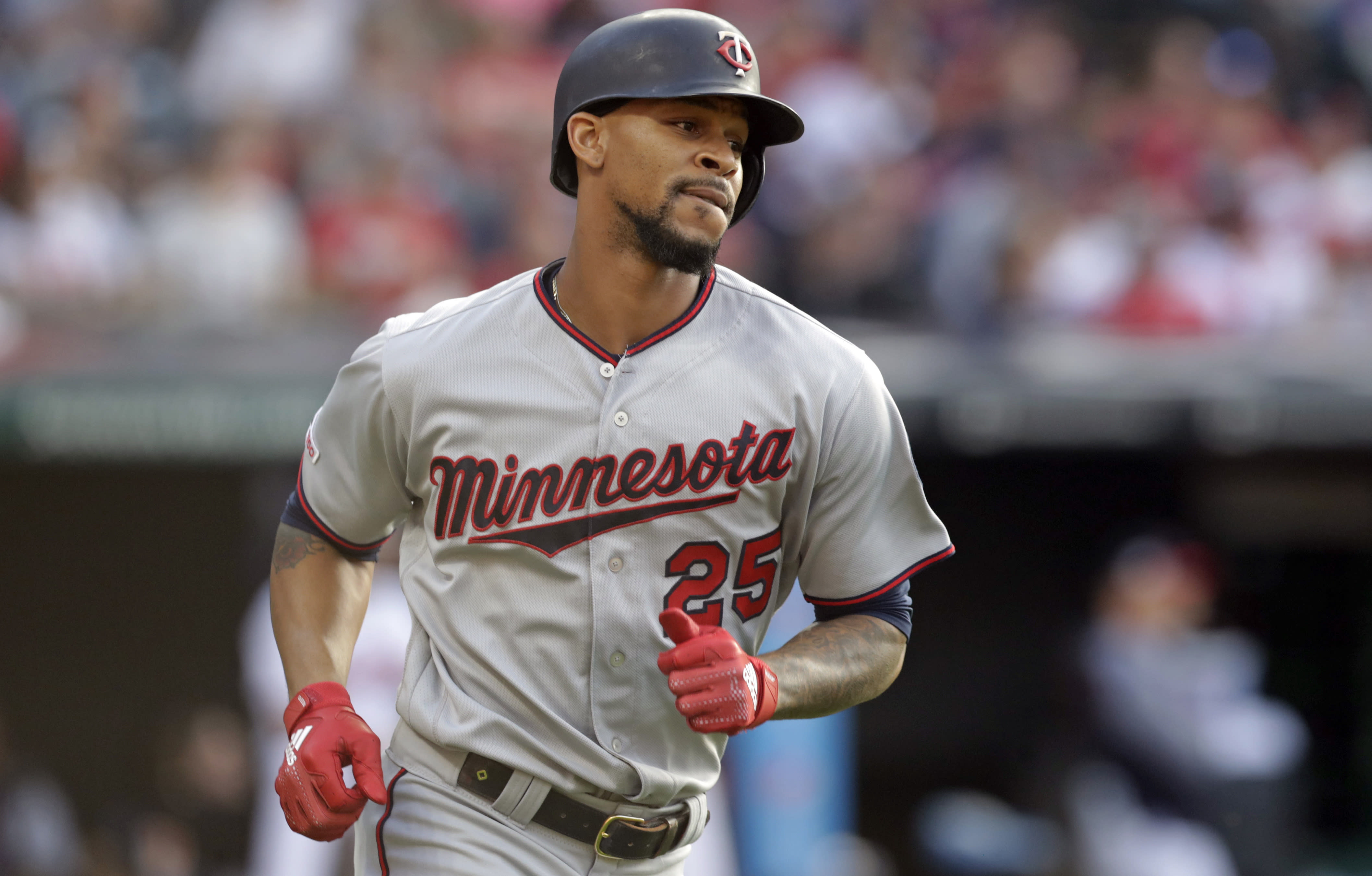 FILE - In this June 5, 2019, file photo, Minnesota Twins' Byron Buxton runs the bases after hitting a three-run home run in the second inning of the team's baseball game against the Cleveland Indians in Cleveland. Buxton is among the players who probably benefited from baseball's virus-induced delay. The oft-injured Twins speedster was coming off a major shoulder surgery. (AP Photo/Tony Dejak, File)