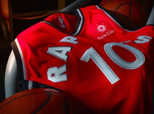 A glimpse at how the Sun Life Financial advertising patch will look on the Raptors' red jerseys. (Image via @rwesthead)