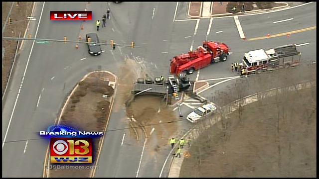 Serious Crash Involving Dump Truck Closes Part Of Charles Street In Towson