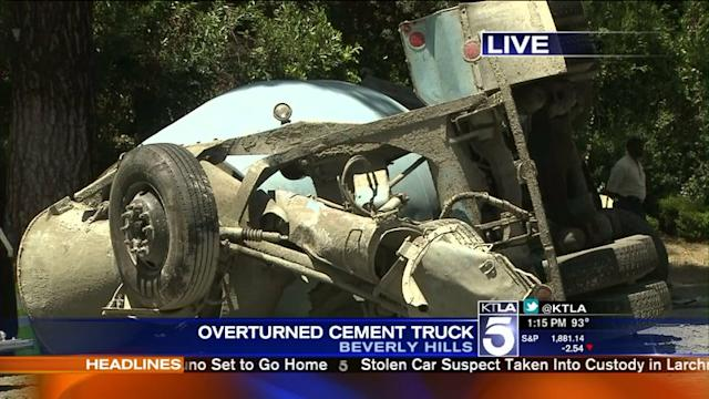 Cement Truck Overturns on Same Street Where LAPD Officer Was Killed in Crash