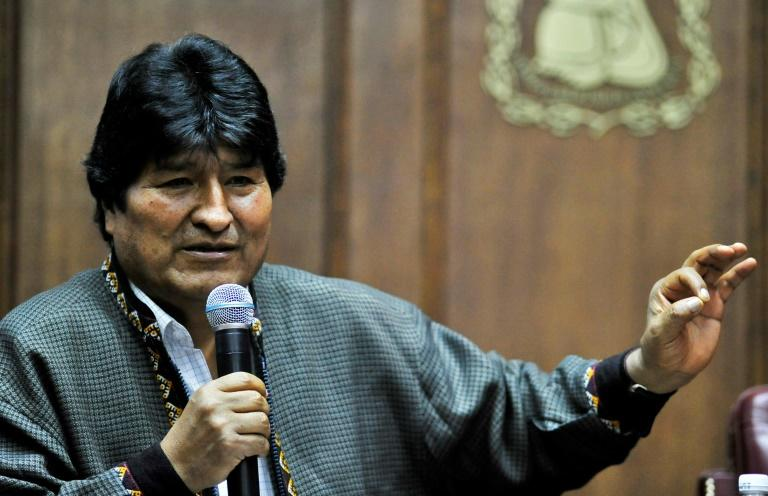 Bolivia's exiled ex-president Evo Morales delivers a speech at the Mexican Journalists Club in Mexico City, on November 27, 2019