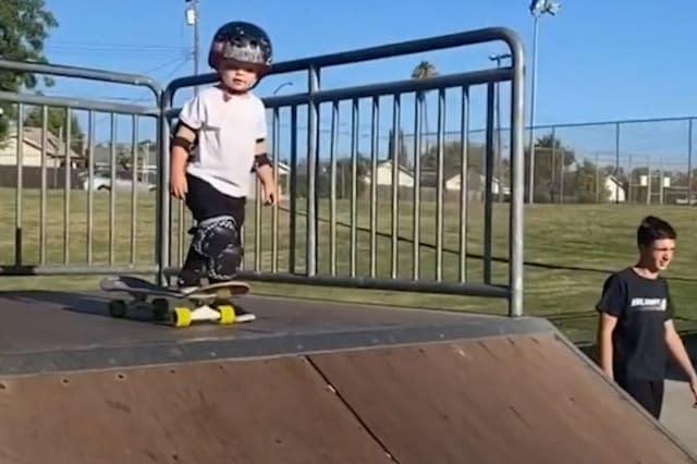 Toddler dubbed 'Tiny Hawk' goes viral for skateboarding skills