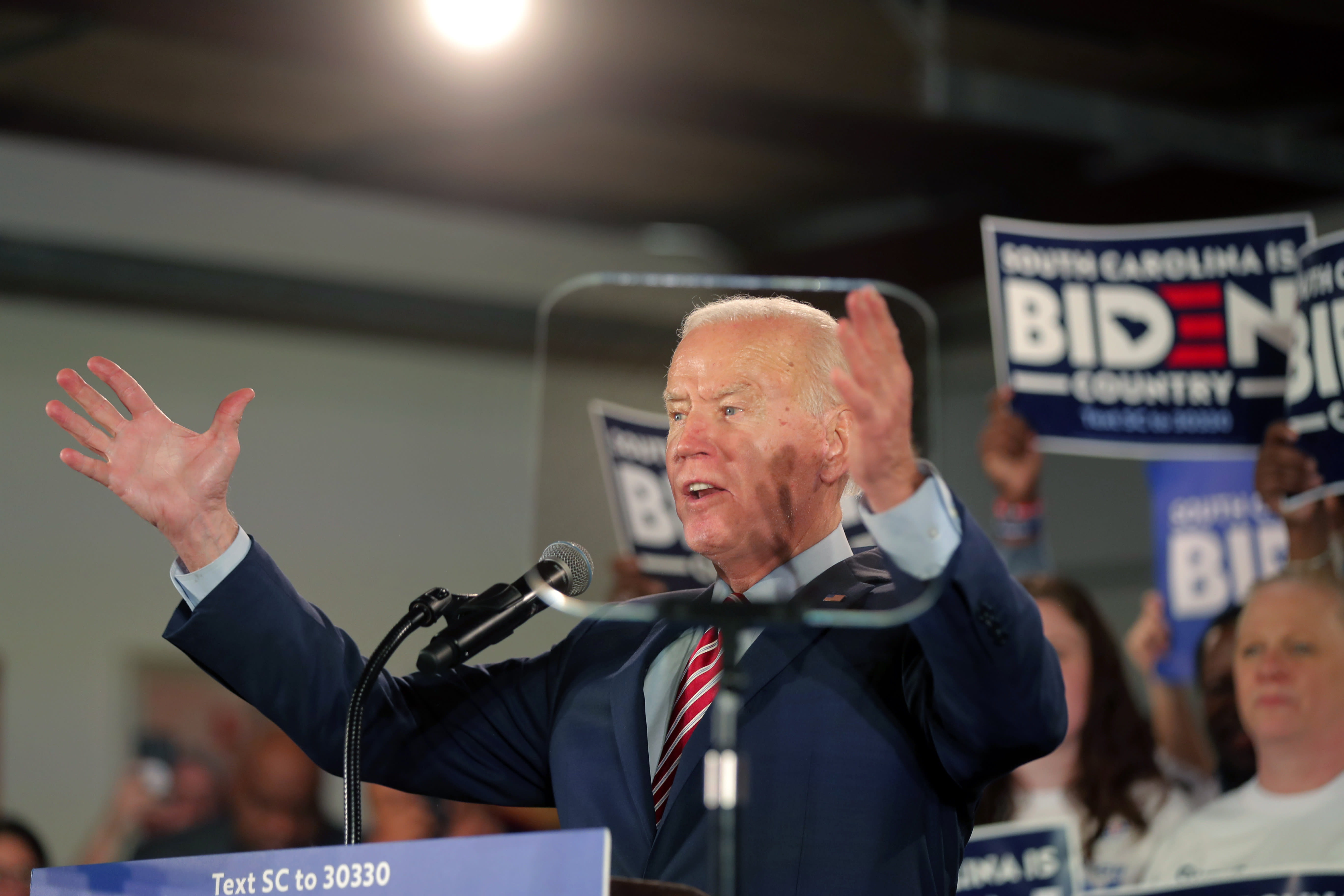 Democratic presidential candidate former Vice President Joe Biden speaks at a campaign event in Columbia, S.C., Tuesday, Feb. 11, 2020. (AP Photo/Gerald Herbert)