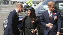 New dad Prince William kisses future sister-in-law Meghan Markle at Westminster Abbey: See the sweet photos