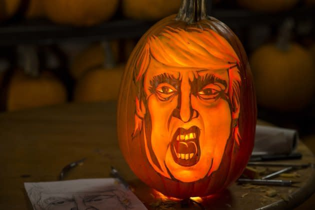 "<p>What a masterpiece! The eyebrows, the mouth, that hair is as Trumpkin-y as it gets. <i>(Photo: Damon Dahlen via <a href=""http://www.huffingtonpost.com/entry/how-to-carve-pumpkin-hugh-mcmahon_5612c938e4b0af3706e1a304?ncid=edlinkushpmg00000055"" rel=""nofollow noopener"" target=""_blank"" data-ylk=""slk:The Huffington Post"" class=""link rapid-noclick-resp"">The Huffington Post</a>) </i></p>"