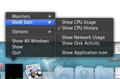 Monitor OS X network, CPU and disk activity in the Dock