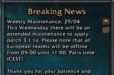 European extended weekly maintenance: 29th April 2009