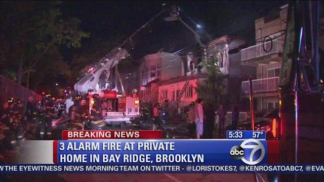 Raging fire burns through multi-family home in Brooklyn