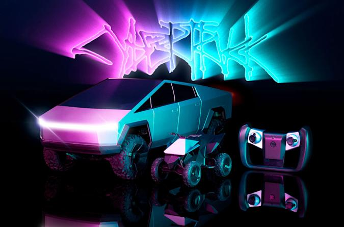 The Mattel Cybertruck and Cyberquad remote controlled vehicles shown on a gloss black surface with teal and pink neon accents.
