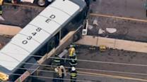Bus slams into divider on New Jersey highway