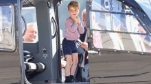 Prince George climbs in helicopter cockpit as Prince William and Princess Kate depart Germany