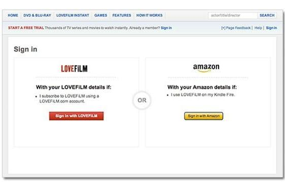 Lovefilm to start letting users log in with their Amazon info, Kindle owners are up first