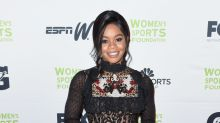 Gabby Douglas wears a sheer dress and rocks new ombre hair on the red carpet