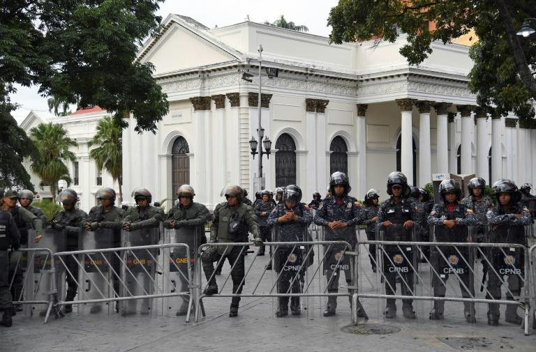 Security forces in January 2020 stand outside Venezuela's National Assembly, the only institution in the country led by the opposition but which has been rendered powerless