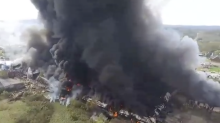 Former West Virginia Tool Plant Burns Creating Towering Plumes of Smoke