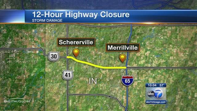 US 30 closed in NW Indiana for emergency repairs after severe storms