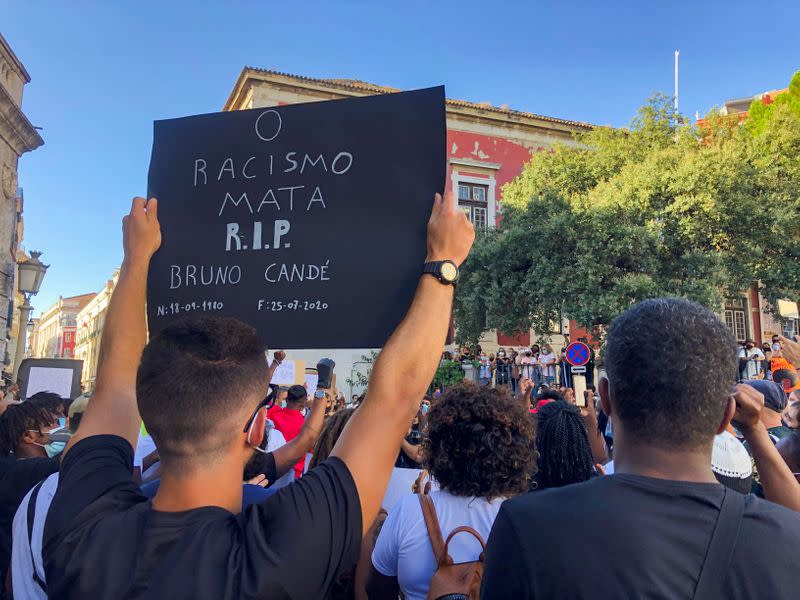 People take part in an anti-racism protest in honour of Bruno Cande in Lisbon