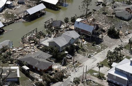 Homes destroyed after Hurricane Michael smashed into Florida's northwest coast in Mexico Beach, October 11, 2018. Chris O'Meara/Pool via REUTERS