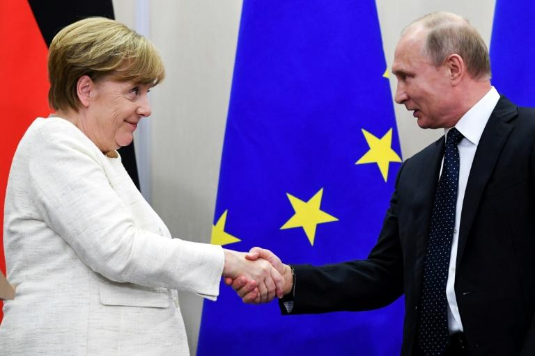 Libya and Iran will top the agenda for talks in Moscow between German Chancellor Angela Merkel and Russian President Vladimir Putin (pictured in Sochi in May 2018)