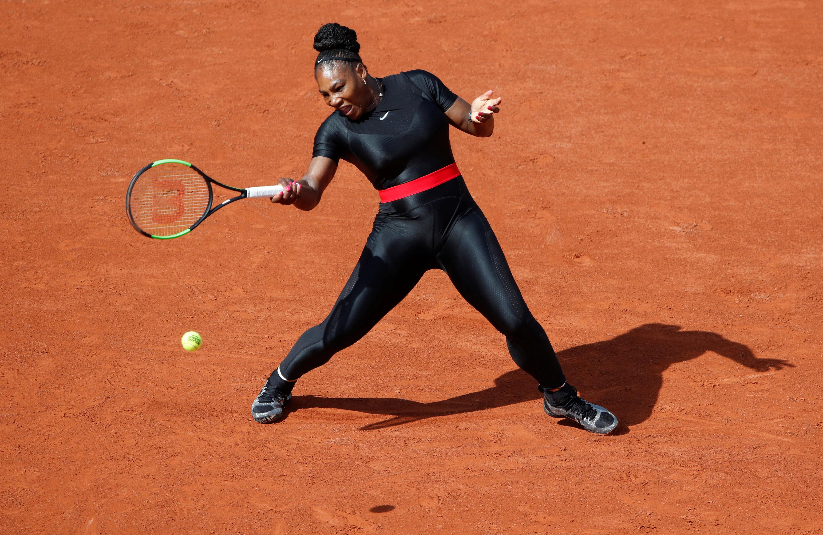 802a6cadc5ac Serena Williams returns to tennis dressed like a superhero  Video