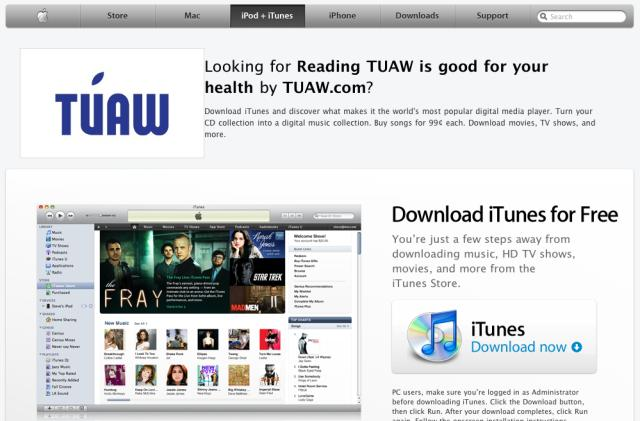 Apple's iTunes Affiliates site briefly subjected to image swaps