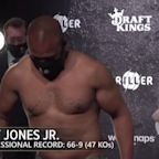 Former boxing greats MIke Tyson and Roy Jones Jr weigh-in for their comeback exhibition match