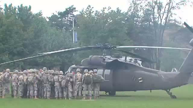 Blackhawk helicopters land at Notre Dame College