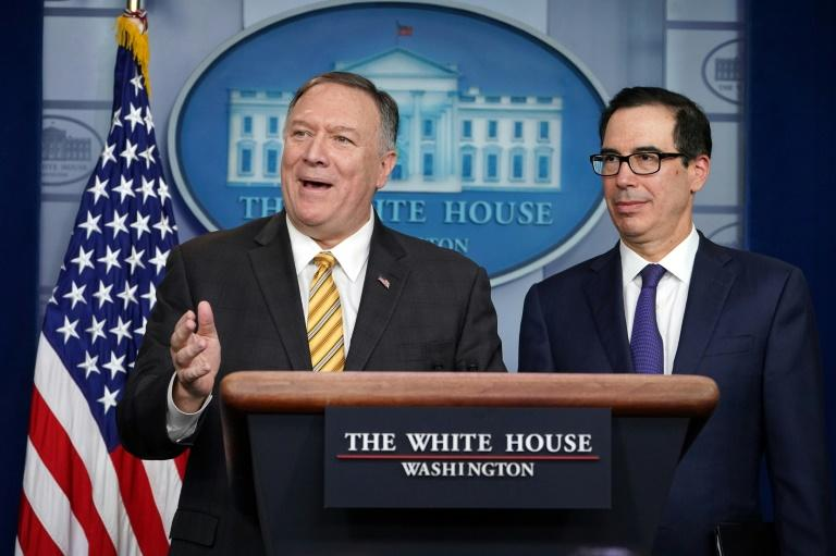 "Secretary of State Mike Pompeo and Treasury Secretary Steven Mnuchin have stressed the United States will maintain its campaign of ""maximum pressure"" against Iran despite the departure of hawkish national security adviser John Bolton (AFP Photo/Mandel NGAN)"