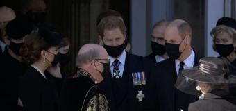 William, Harry leave Prince Philip's funeral together