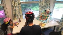 Entire family wears helmets to support baby with flat head syndrome