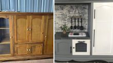 Bunnings mum transforms old TV unit into 'stunning' kids kitchen