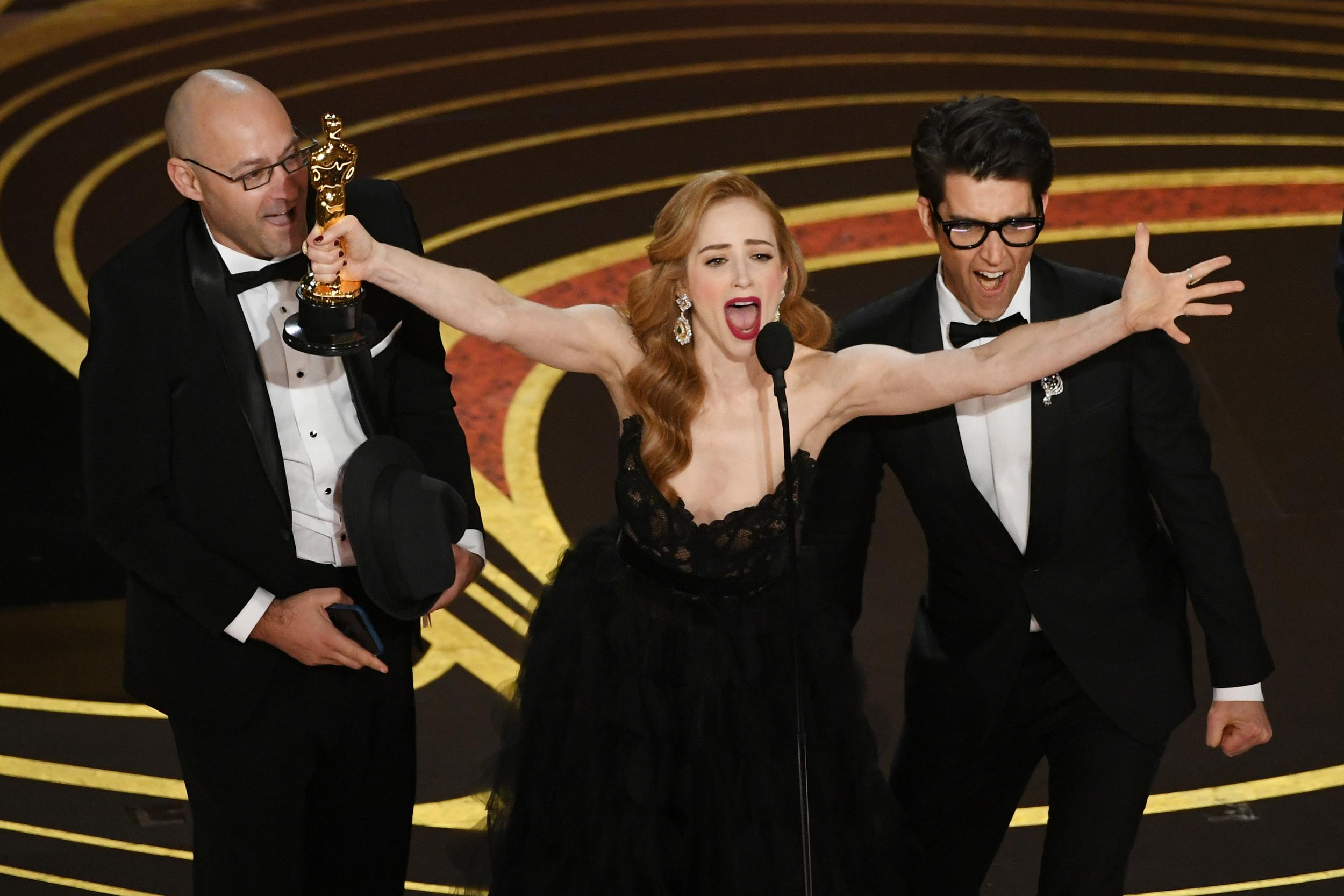 HOLLYWOOD, CALIFORNIA - FEBRUARY 24: (2nd L - R) Jaime Ray Newman and Guy Nattiv accept the Best Live Action Short Film award for 'Skin' onstage during the 91st Annual Academy Awards at Dolby Theatre on February 24, 2019 in Hollywood, California. (Photo by Kevin Winter/Getty Images)