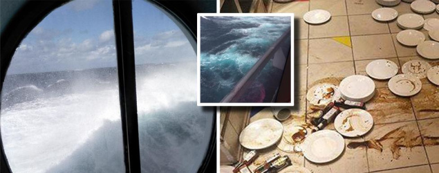 Pictured: Wild waves cause carnage on luxury Sydney cruise