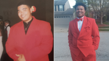 This teen's red prom suit has been passed through three generations