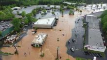 Floodwaters Surround Businesses in Georgia's Banks County