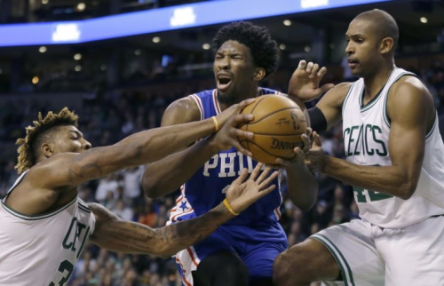 Joel Embiid's 76ers and Al Horford's Celtics will square off in London next year. (AP)
