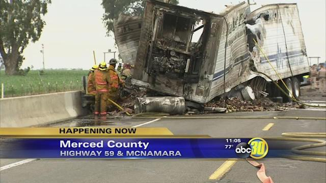 Deadly crash forces closure of Highway 59 in Merced County