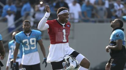 Panthers QB Newton shakes off rust, returns to practice