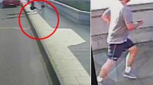 Insólito: Un corredor empuja a una mujer delante de un autobús, y después la ignora