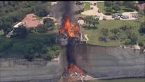 Texas Lake Home Teetering on Cliff Set Ablaze