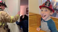 Firefighter's heart-warming sign language exchange with young boy