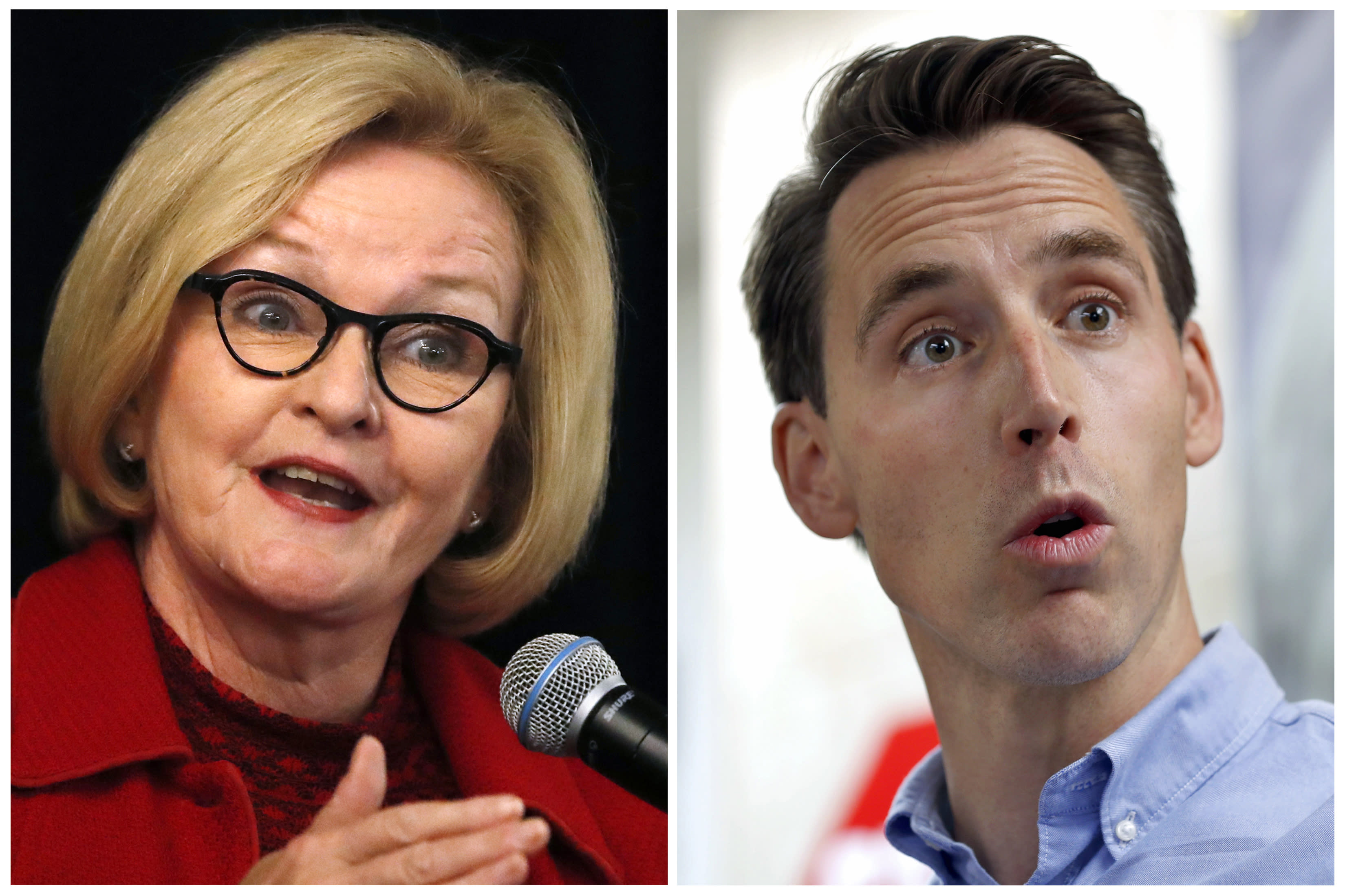 """FILE - This combination of file photos shows Missouri U.S. Senate candidates in the November election, Democratic incumbent Sen. Claire McCaskill, left, and her Republican challenger Josh Hawley. The Missouri version of a radio ad that suggests Democratic victories in midterm elections endanger African-American men and boys does not refer to lynchings as an ad in Arkansas does. But in Missouri, the ad against Democratic Sen. Claire McCaskill features a woman saying """"black folk will be catching hell again."""" Neither the Hawley nor McCaskill campaigns immediately responded to email messages Friday, Oct. 19, 2018 seeking comment. (AP Photo/Jeff Roberson, File)"""