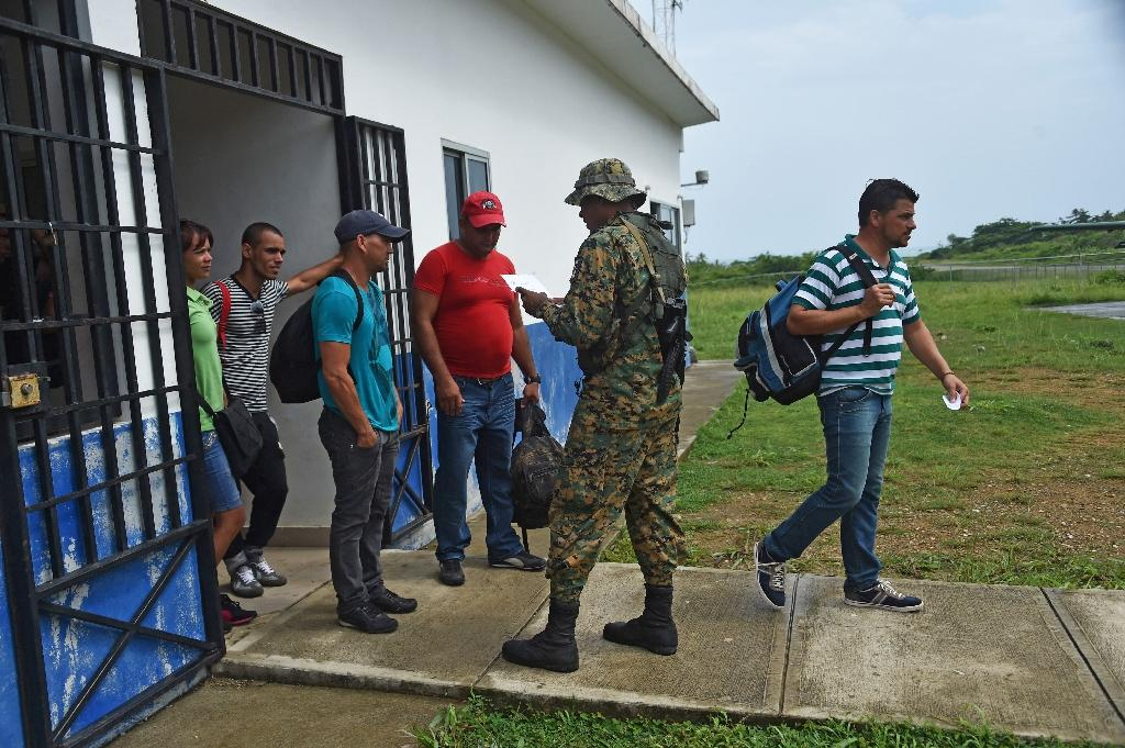 Cuban migrants, like these men and women seen in Puerto Obaldia on May 15, 2015, on their way to the United States have been stuck in Panama ever since Nicaragua closed its borders to them