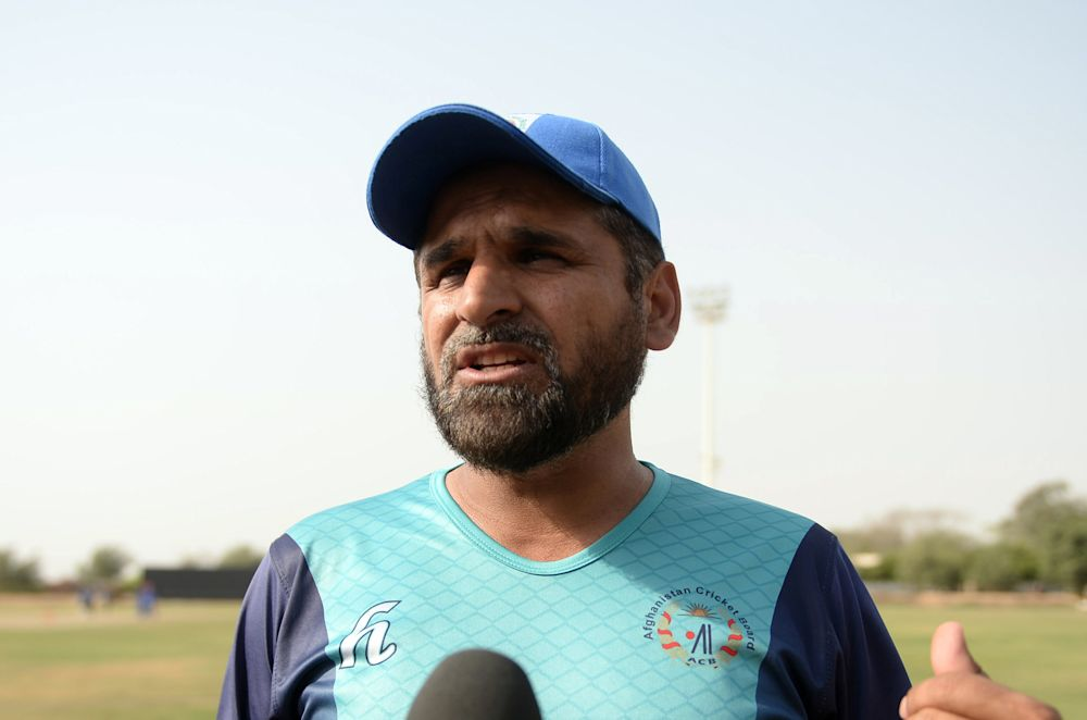 Afghan cricket coach Kabir Khan speaks with AFP during a training session in the Pakistani port city of Karachi, on April 26, 2014