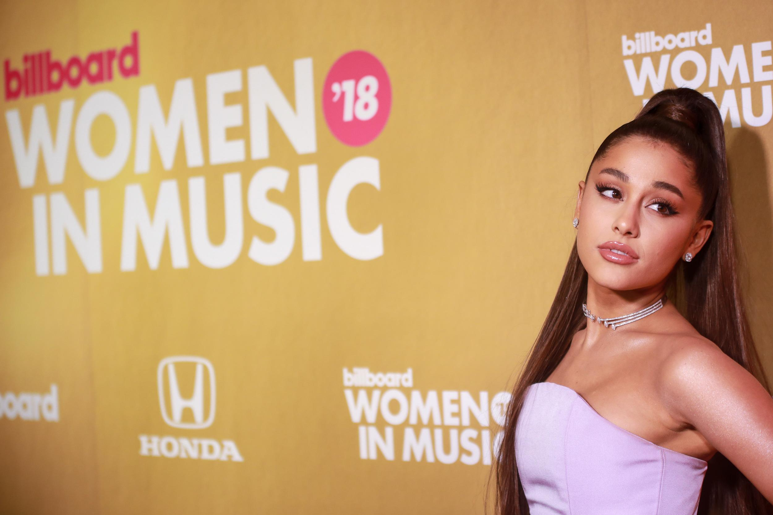 Ariana Grande attends Billboard 2018 Women in Music at Pier 36 on December 6, 2018 in New York, NY. (Photo by Jason Mendez/Sipa USA)