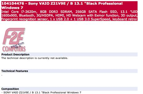 Sony VAIO Z21 Series mentioned on various European sites, isn't actually for sale yet