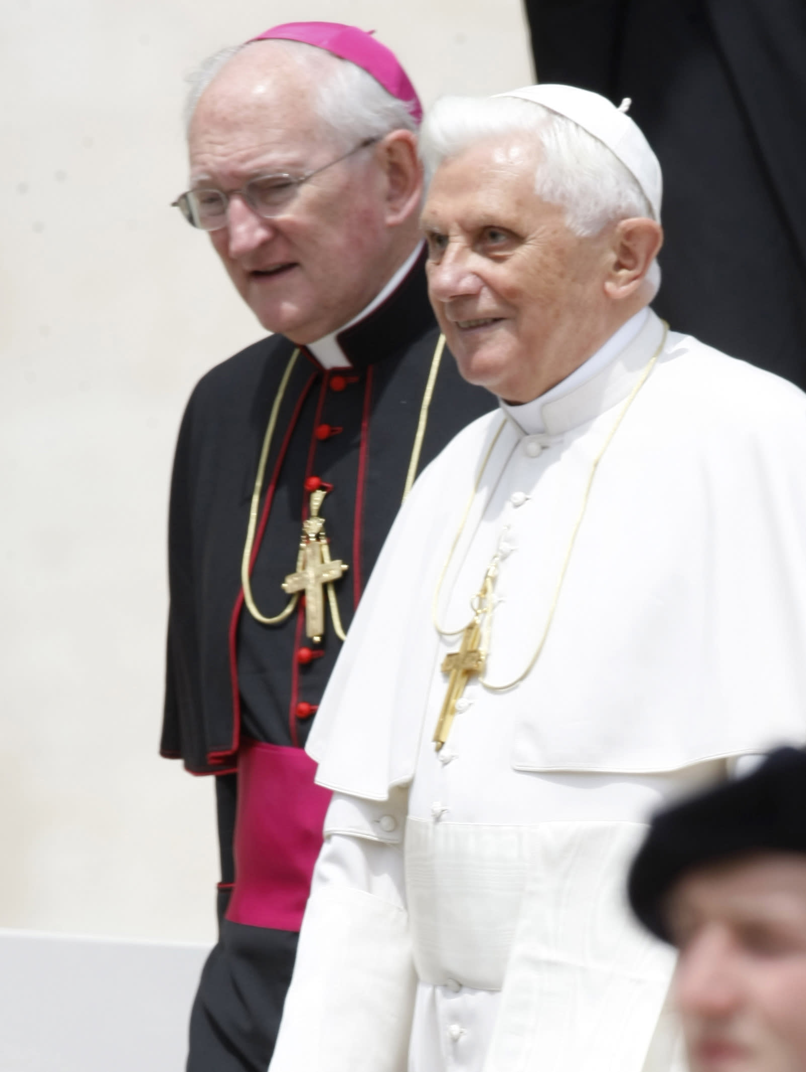 FILE - This May 6, 2009 file photo shows Pope Benedict XVI, right, walking with Mons. James Harvey, of the US, prefect of the Papal Household, during the pontiff's weekly general audience, in St. Peter's Square, at the Vatican. Harvey is one of the six new cardinals named by Pope Benedict XVI on Wednesday, Oct. 24, 2012 that will be elevated at a consistory Nov. 24 at the Vatican. (AP Photo/Andrew Medichini)