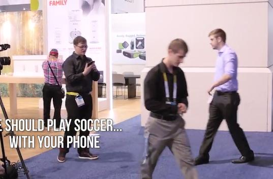 Techies play iPhone 6 soccer at CES with an actual iPhone 6